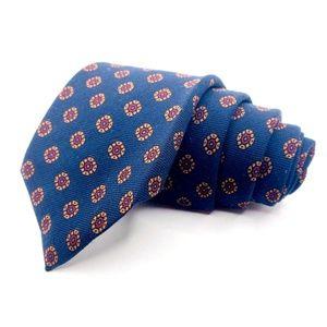 Jos A Bank Tie Wool Blue Geometric Pattern